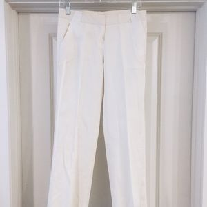 Bebe White Straight Leg Linen Dress Pant